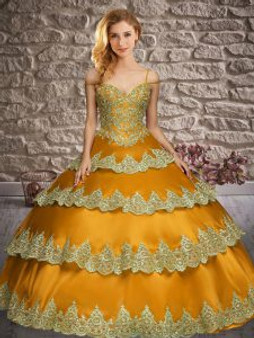 Ruffled Layers Gold Quinceanera Dress