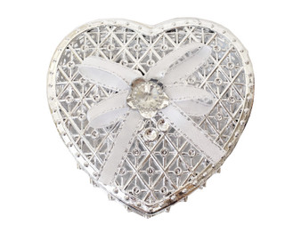 """3 1/4"""" Silver Heart-Shaped Ribbon Bow Favor Box - Pack of 12 ( $ 1.79 each)"""