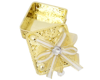 """3 1/4"""" Gold Square Ribbon Bow Favor Box - Pack of 12 ( $ 1.99 each)"""