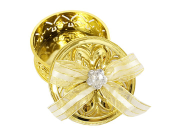 """3"""" Gold Round Ribbon Bow Favor Box - Pack of 12  ( app. $ 1.40 each)"""