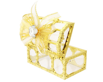 """3"""" Gold Treasure Chest Ribbon Bow Favor Box - Pack of 12 ( $ 1.99 each)"""
