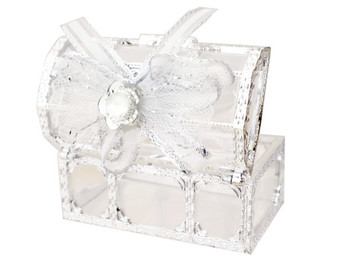 """3"""" Silver Treasure Chest Ribbon Bow Favor Box - Pack of 12 ( $ 1.99 each)"""