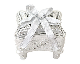 """3"""" Silver Rose Ornate  Curio Ribbon Bow Favor Box - Pack of 12 ( $ 1.89 each)"""