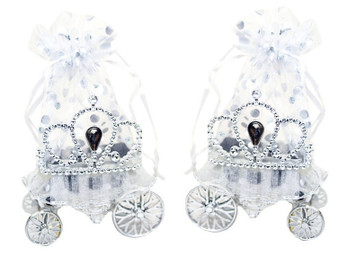 "3"" Silver Cinderella Carriage Organza Bag Favor Box - Pack of 12 ( $ 2.19 each)"