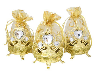 """4"""" Gold Round Organza Bag Favor - Pack of 12 ( $ 1.99 each)"""