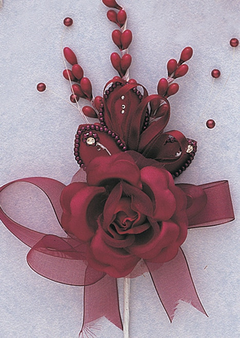 """7"""" Burgundy Rose Corsage Silk Spray Flowers - Pack of 12, available in many colors"""