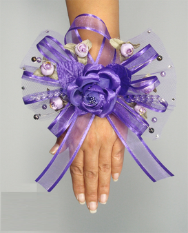 Purple Quinceanera Hand Corsage, 6 inches available in many colors