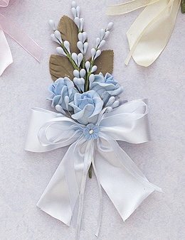 """6"""" Light Blue Silk Clay Corsage Flowers - Pack of 6"""