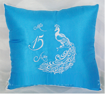 Peacock Quinceanera  Pillows. Set of two pillows