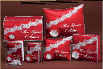 Red Quinceanera Set up to 7  items, available in all colors