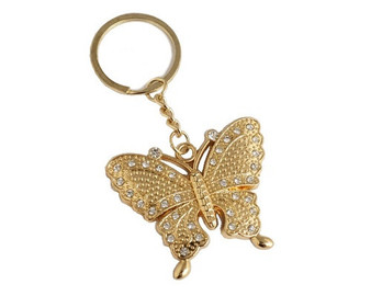 Gold Butterfly Crystal Rhinestone Keychain - Pack of 12