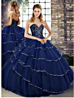 Navy Blue Quinceanera Dress
