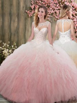 Lace Beaded Blush Quinceanera Dress