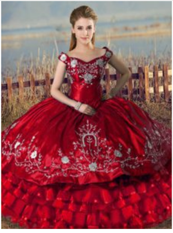 Red Charro Quinceanera Dress QSXBQD162-7