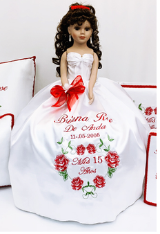 Red Roses Charra  Quinceanera Doll, 21 inches