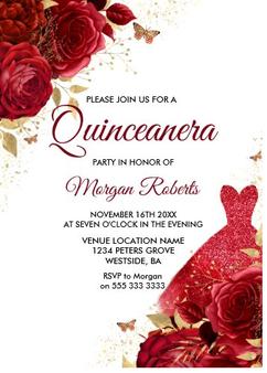 rOSES Quinceanera Invitation QS-IN5 set of 50