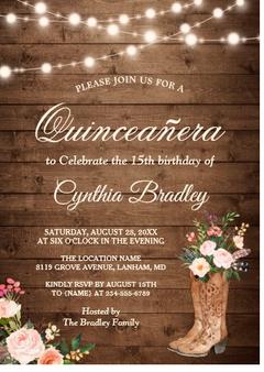 Western Quinceanera Invitation QS-IN3 set of 50