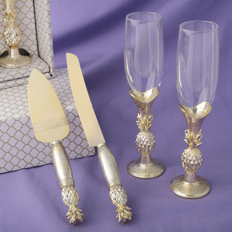 Pineapple gold quinceanera toasting glasses  and cake server set