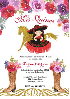 Charra Quinceanera Invitation QS-IN18 set of 50