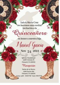 Charra Quinceanera Invitation QS-IN7 set of 50