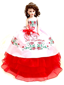 Red Charra  Quinceanera Doll, 21 inches