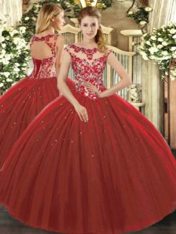 Lace enhanced Red Quinceanera Dress