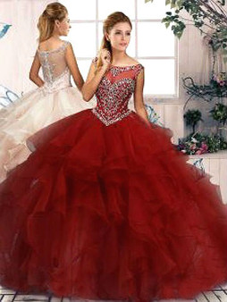 Wine Quinceanera Dress QSJQDDT2086002