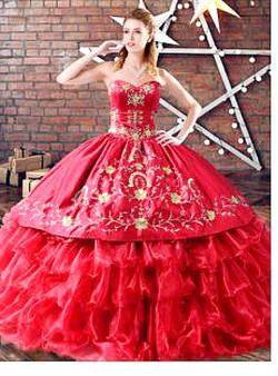 Red Ruffles Charro Quinceanera Dress