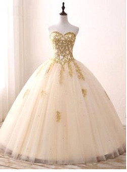 Champagne Quinceanera Dress QSWQD206