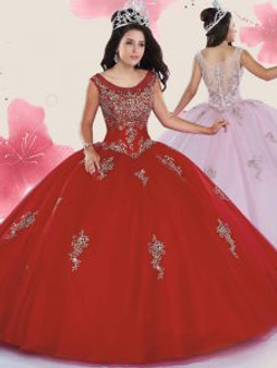 Beaded  Red Quinceanera Dress