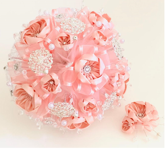 Pink Quinceanera Flower Bouquet and Headpiece