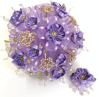 Purple Quinceanera Flower Bouquet and Headpiece