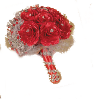 Round Red Roses Quinceanera Flowers Bouquet