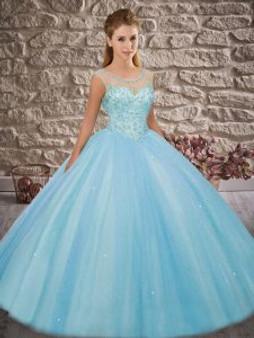 Beaded Blue Quinceanera Dress