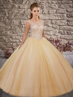 Beaded Champagne Quinceanera Dress