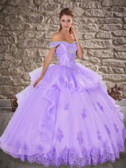 Crystal and Beaded Lilac Quinceanera Dress