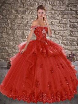 Crystal and Beaded Red Quinceanera Dress