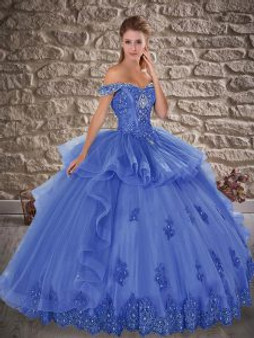 Crystal and Beaded Blue Quinceanera Dress