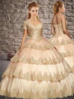 Ruffled Layers Blush Quinceanera Dress