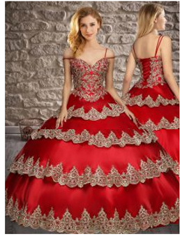 Ruffled Layers Red Quinceanera Dress