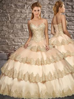 Ruffled Layers Champagne Quinceanera Dress