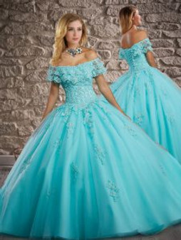 Off  the shoulder Aqua Quinceanera Dress