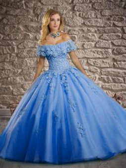 Off  the shoulder Baby Blue Quinceanera Dress