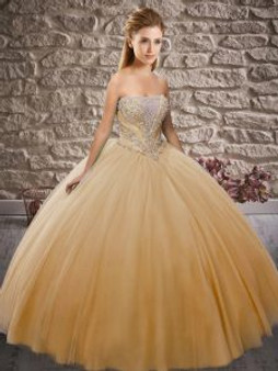 Strapless Champagne Quinceanera Dress