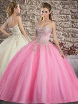 Beaded Applique Pink Quinceanera Dress