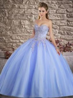 Beaded Applique Blue Quinceanera Dress