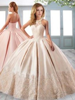 Champagne Satin Quinceanera Dress QSXFQD1650-1
