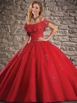Off  the shoulder Red Quinceanera Dress  QSXFQD1596-11