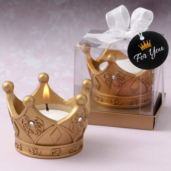 Gold Crown tealight candle holder favor (as low as $ 2.49)