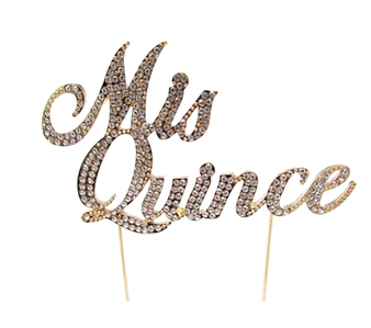 Mis Quince Diamond Rhinestone Cake Toppers, Silver - Gold